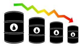 Petroleum barrel price falls down illustration Stock Photo