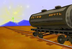A petroleum cistern stands on the railroad Stock Image