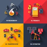 Petroleum Design Concept Set. With petrochemistry oil products transportation and extraction flat icons isolated vector illustration Royalty Free Stock Images