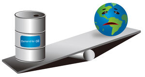 Petroleum Exploitation. Illustration about over-exploitation of the oil resources of the Earth,each piece can be used separately Stock Images