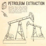 Petroleum extraction pump. Hand drawn vector illustration Stock Photos