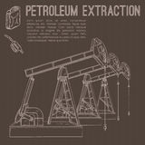 Petroleum extraction pump. Hand drawn vector illustration Royalty Free Stock Images