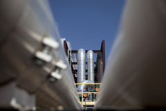 Petroleum Facility. Petroleum piping in an oil refinery Stock Image