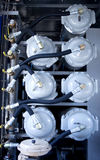 Petroleum factory. Valves at the petroleum factory Royalty Free Stock Photography