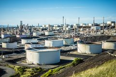 Petroleum fuel industrial refinery in california usa. Petroleum fuel industrial refinery  in california usa Royalty Free Stock Photography