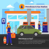 Petroleum And Gas Station Illustration. Petroleum and gas station with workers cars and shop flat vector illustration Royalty Free Stock Images