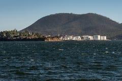 Petroleum harbor of Hobart, Australia. Hobart, Australia - March 19. 2017: Tasmania. The Petroleum harbor with its bright white tanks across Cornelian Bay Royalty Free Stock Image