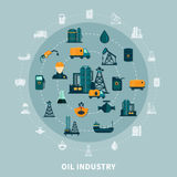 Petroleum Icons Round Composition. Oil industry composition with  flat icons and silhouettes of petroleum production transportation and storage facilities vector Royalty Free Stock Photos