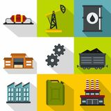 Petroleum icons set, flat style Royalty Free Stock Photography
