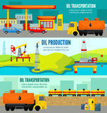 Petroleum Industry Colorful Horizontal Banners Stock Image