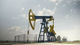Petroleum industry equipment extracting and drilling oil on the platform - stock footage