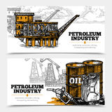 Petroleum Industry Horizontal Banners. Petroleum industry hand drawn horizontal banners with tanks and filling gun icons and oil derricks and arctic oil platform Royalty Free Stock Image