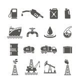 Petroleum Industry Icon Set. Petroleum industry black icon set with fuel tanker transportation terminal drilling well isolated vector illustration Stock Images