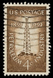 Petroleum Industry Issue. Petroleum Industry postal stamp was issued in 1959. Picturing the first oil well at Titusville, Pennsylvania Royalty Free Stock Photography
