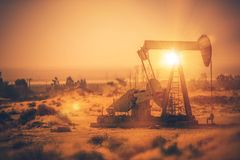 Petroleum Industry Pumpjack. Overground Drive. Piston Pump and the Oil Well. California, United States of America royalty free stock photos