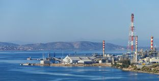 Petroleum industry with transhipment facilities. View of petroleum industry with transhipment facilities at Eleusis, Attica - Greece Stock Photography