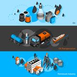 Petroleum Isometric Banners. Petroleum industry isometric horizontal banners set with oil transportation elements  vector illustration Royalty Free Stock Photo