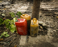 Petroleum Jerry Can abandoned in a garden photo taken in Semarang Indonesia Royalty Free Stock Photography
