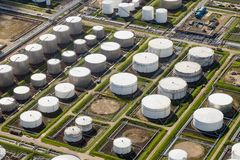 Oil industrial depot port. Petroleum, oil and chemical storage depot terminal in an industrial port stock photos