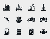 Petroleum and oil icons set. Refinery and transportation, diesel and barrel, factory industrial, tank black, tanker ship, vector illustration Royalty Free Stock Photography