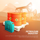 Petroleum Oil Industry Facilities Isometric Poster Stock Image
