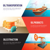 Petroleum Oil Industry isometric Banners Set Stock Image