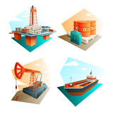 Petroleum Oil Industry 4 Isometric Icons. Petroleum industry 4 isometric icons square with extraction refining and transportation oil fuel gasoline  vector Stock Photo