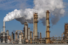 Petroleum Oil Production Plant. Air pollution from Chicago Petroleum Oil Production Plant near Illinois Michigan Canal Stock Photo