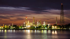 Petroleum oil refinery factory over sunrise Royalty Free Stock Photography