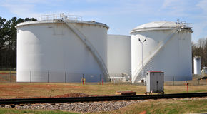 Petroleum oil storage tanks. With blue sky royalty free stock photos