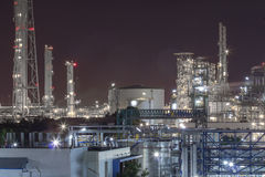 Petroleum plant in night time Royalty Free Stock Photo