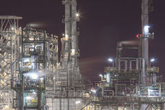 Petroleum plant in night time Stock Images