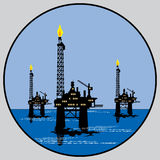 Petroleum platform emblem Royalty Free Stock Photos