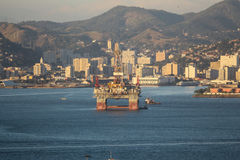 Petroleum Platform in Guanabara Bay. Rio de Janeiro, Brazil, August 25, 2017: Petroleum Platform anchored in the Guanabara Bay, in the central region of the Stock Photos