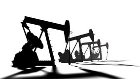 Petroleum-producing. Silhouette pumpjack on white background. Oil and gas Industry animation stock video footage