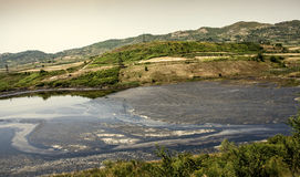 Petroleum pumping polluted landscape in Albania. Power Industry Stock Photography