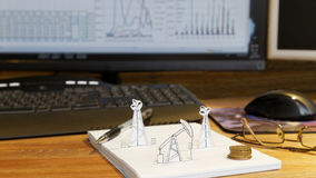 Petroleum pumpjack and oil rigs. Concept. Stock Photo