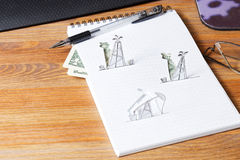 Petroleum pumpjack and oil rigs. Concept. Royalty Free Stock Photos