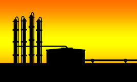 Petroleum refinery. A illustration of petroleum refinery Royalty Free Stock Images