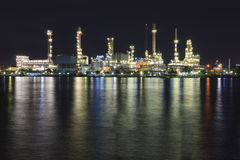 Petroleum Refinery. Plant area at twilight Stock Photography