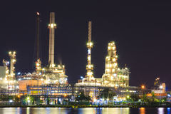 Petroleum Refinery. Plant area at twilight royalty free stock image