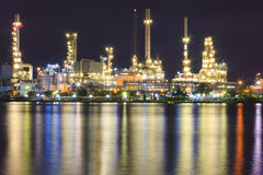Petroleum Refinery. Plant area at twilight royalty free stock images