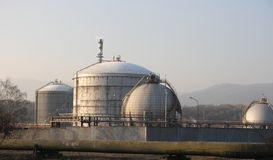 Petroleum refinery. Petroleum tanks in a refinery Royalty Free Stock Photography