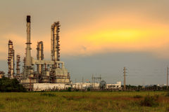 Petroleum Refinery. Evening Sunset At Petroleum Refinery Stock Images