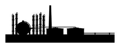 Petroleum refinery. A illustraton of petroleum refinery stock illustration