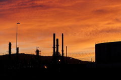 Petroleum refinery  sunset Stock Images