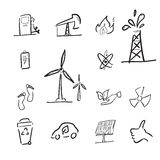 Petroleum and renewable energy cartoon Royalty Free Stock Photography