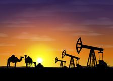 Petroleum rigs and camels at sunset. Vector oil drill background. United arab emirates illustration. Royalty Free Stock Images
