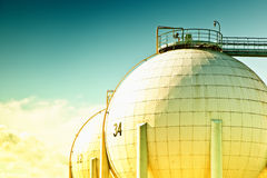 Petroleum storage tank. S, toned photo royalty free stock photography