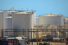 Petroleum Storage Tanks Brisbane harbor Stock Images
